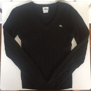 Black Lacoste Cable Sweater - size 36 (size 4/S)